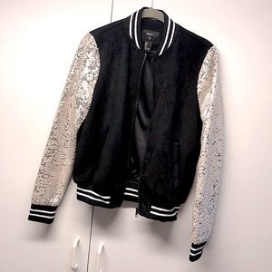 Varsity Sequin Zip Up Jacket